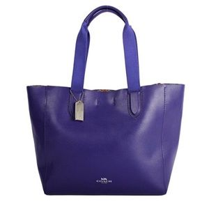Coach Derby Leather Tote Shoulder Bag Royal Blue